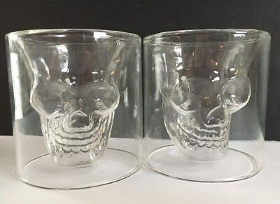 Pottery Barn SKULL SHOT GLASSES Set of 2 BAR WARE ~Mouth-blown Glass~ NEW w/TAGS - Halloween Bar Shots