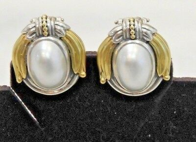 Lagos Caviar Arcadian 18K Yellow Gold, Sterling Silver & Mabe Pearl Earrings