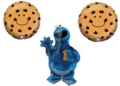 3 PC COOKIE MONSTER Chocolate Chip Party BaLlOoNs sesame street FREE SHIPPING - Cookie Monster Balloons