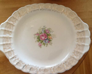 ANTIQUE LIMOGES PLATTER 22K GOLD TRIM also BOBECHES, PLATE   AN
