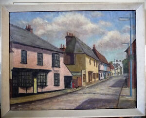 "British Original Painting by O. Nail ""High Street in Epsom"" 1959"
