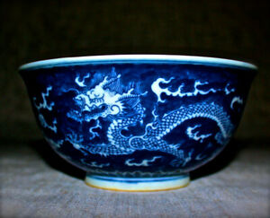 Chinese  antique blue and white dragon  porcelain bowl