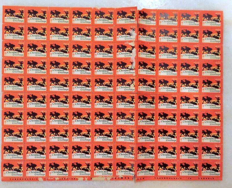 1933 Christmas Seal Full Sheet Of 100 NH - $0.99