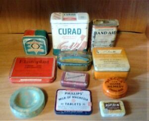 VINTAGE TINS INCL FIRST AID, REMEDIES AND SEWING TINS