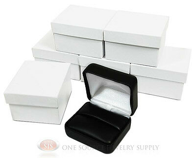 6 Piece Double Ring Black Leather Jewelry Gift Boxes 2 38w X 2d X 1 12h