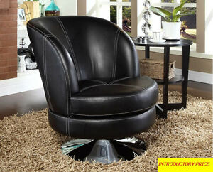 GRAIN TEXTURED FAUX LEATHER ACCENT CHAIR WITH WIDE METAL BASE...