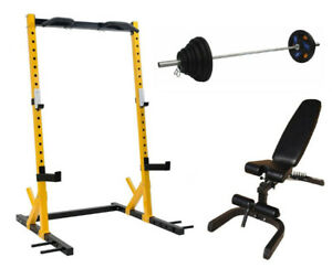HALF RACK SQUAT RACK, FID BENCH, 300BS Olympic weight set
