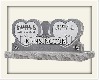 Cemetery headstone monument, 100% granite, gray, Double Hearts, engraving includ