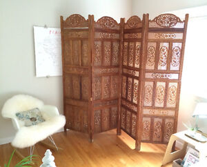 Hand carved room divider, screen from TEN THOUSAND VILLAGES! WOW