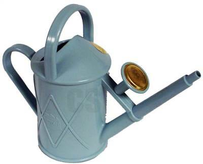 Haws Plastic Watering Can (HAWS HERITAGE INDOOR 1 LITRE PLASTIC WATERING CAN FOIL BRASS ROSE LIGHT BLUE )