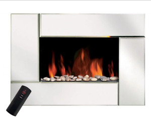 Beveled Glass Electric Fireplace And Matching Mirror