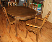 Solid Elm Wood Table & 6 Chairs & Hutch/Buffet w Mirror OBO