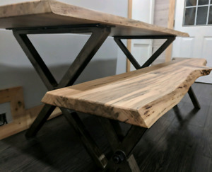 Live Edge Silver Maple Dining Table and Bench