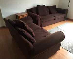 Chocolate couch and loveseat