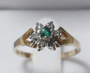 "10kt gold ""Emerald"" and Diamond Cluster Engagement Ring"