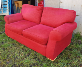 Red 2 Seater Sofa - wet patch is where I shampooed it