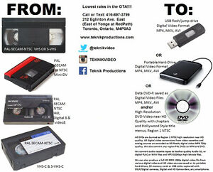 We convert VHS and all camcorder video tapes to USB & DVD