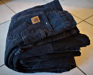 Carhartt® Mens Sandstone Quilt Lined Work Pants Black 44x32 EUC