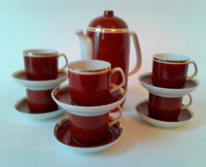 Vtg Art Deco Style Tea Set of 7 Pcs Tea Pot 6 Demi-tasse C&S's