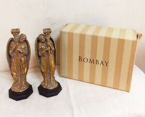 460: Pair of Bombay Co Gold Gilt Angel Candleholders with Box