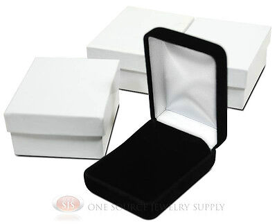 3 Piece Black Velvet Necklace Earrings Jewelry Gift Boxes 2 14 X 3 X 1 14h