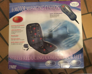 6-MOTOR MASSAGING CUSHION WITH HEAT. never used