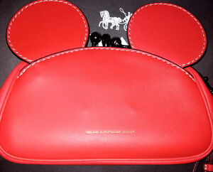 COACH MICKEY KISSLOCK WRISTLET HANDBAG IN SMOOTH LEATHER - RED