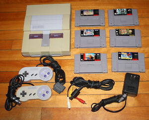 SNES Console w 6 Games & 2 Controllers