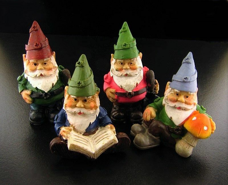Miniature Dollhouse Fairy Garden Set of 4 Gnomes - Buy 3 Save $5