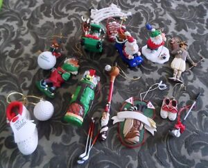 Collection of Golf Christmas Ornaments (1990's)