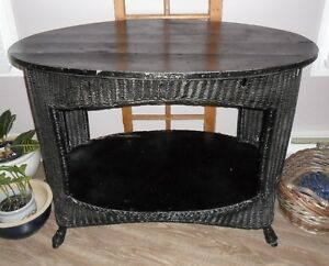 Moving Sale - Wicker Table; Picnic Basket