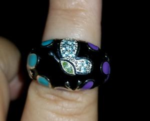 Butterfly ring with Swarovski crystals