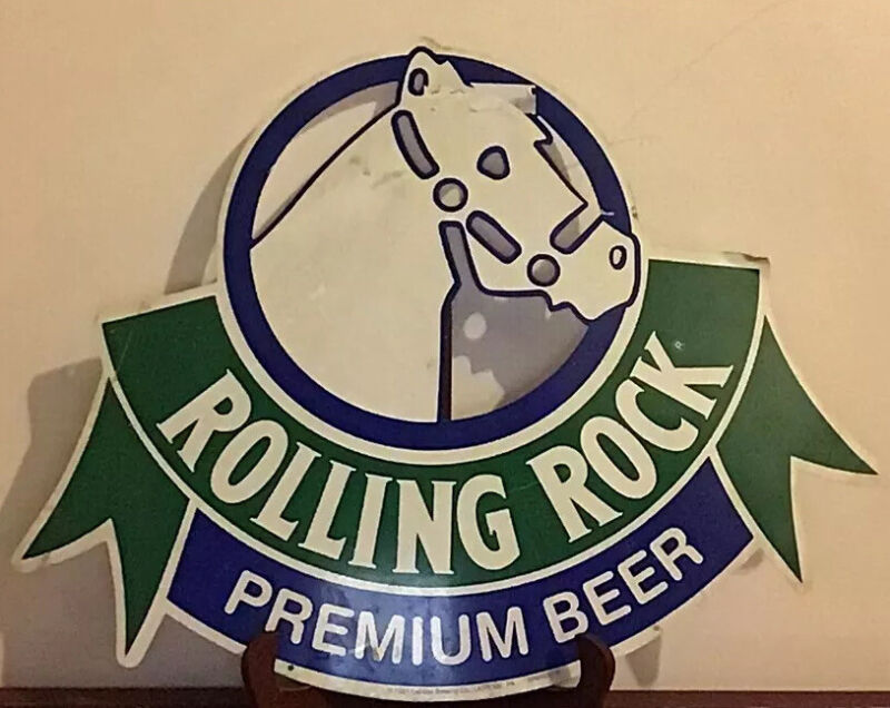 "Rolling Rock Premium Beer Sign tin 1991 16""x20"" VERY NICE"