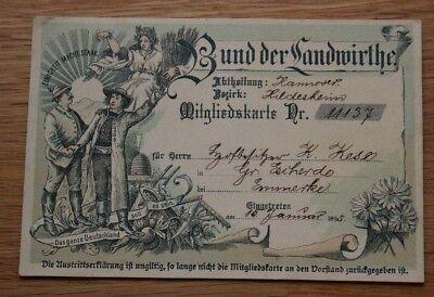Ausweis Bund der Landwirthe / Landwirte Hannover / Hildesheim / Emmerke 1895