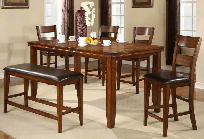 "New! Mango 7 Piece Dining Set Table W/leaf And 6 Chairs, 36"" Counter Height"