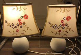 "A pair of bedside lamps / table lamps / lights, White Base, Embroided shades, 12"" High,"