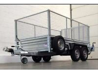 8' X 4' TWIN WHEEL INDESPENSION GOODS TRAILER (2600kg gross) MESHSIDES SPRING REAR RAMP SPARE WHEEL