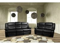 SIZZLING SPECIAL OFFER! BONDED LEATHER RECLINER SOFA SET 3+2 ON SPECIAL CLEARANCE - JUST £449