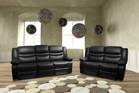 brand new leather recliner sofa set 3 + 2 clearance price until stock last black or brown furniture