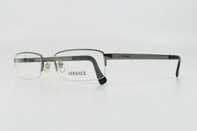 Versace Men's Rectangular Semi-Rimless Silver Glasses w/ Case MOD 1107 1001 52mm