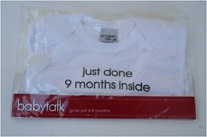 Baby Onesie Grow Suit White Cotton 6-9 months NWT Mile End West Torrens Area Preview