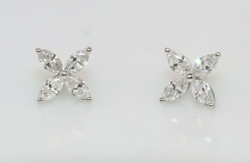 Tiffany & Co. Victoria Collection Platinum Diamond Earrings Large Model