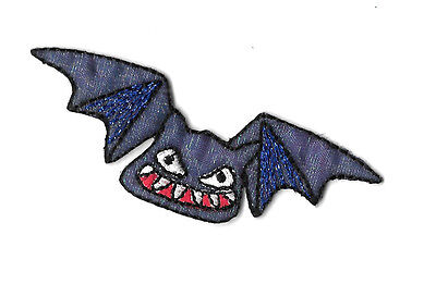 Bat - Halloween - Vampire - Purple Iridescent Embroidered Iron On Patch 2 3/4