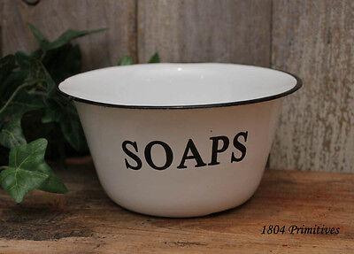 "6"" Reproduction Enamelware SOAPS Bowl ~ White with Black Trim ~ FREE SHIP"