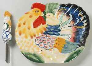 Fitz floyd ricamo accessories rooster snack canape plate for Canape spreaders
