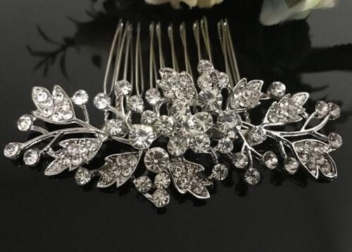 silver tone hair comb bridal wedding crystal rhinestone hair accessories ha3204