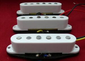 60's Custom SCATTER WOUND Single Coil Alnico Poles Strat Pickup Set -Free Caps
