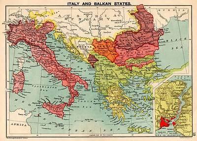 Italy & Balkan States 1898 Original Victorian Colour Map Bartholomew