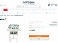 Baby Highchair - Spots- GRACO- MotherCare