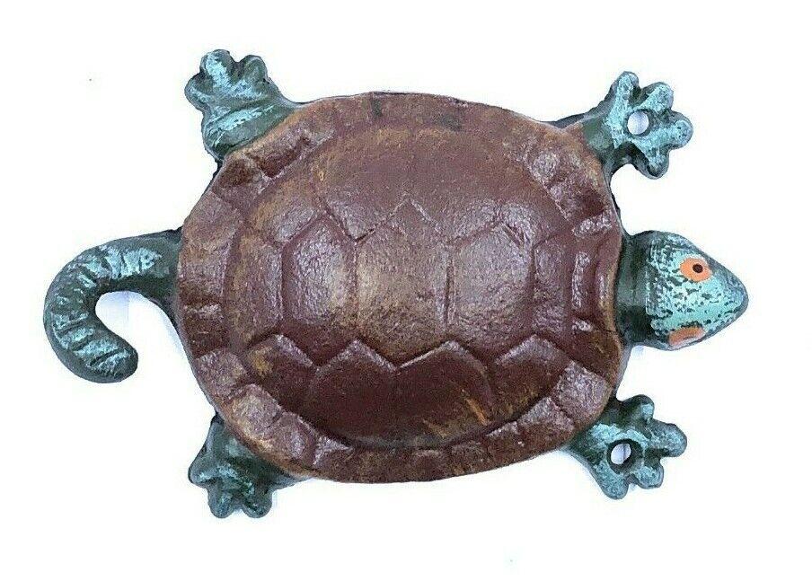 Cast Iron Painted Turtle Coat Hook Towel Animal Bathroom Sto